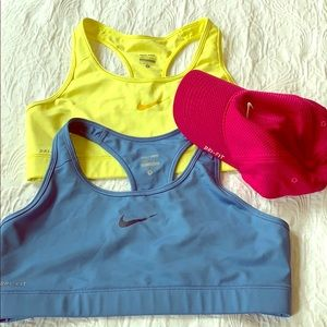 Activewear Nike sports bras and dry fit hat